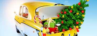Yellow Pickup Truck Christmas Tree Cover Photo