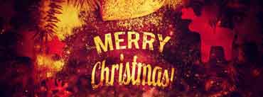 Merry Christmas Red Golden Design Cover Photo