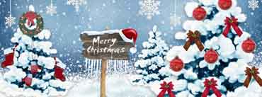 Merry Christmas Sign Snowy Trees Cover Photo