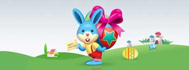 Happy Easter Blue Bunny Cover Photo