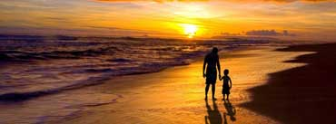 Father And Son Walking Sunset Beach Cover Photo