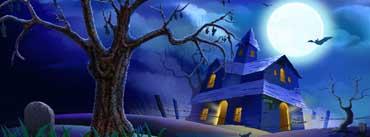 Spooky House Bats Cat Night Full Moon Cover Photo