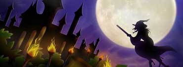 Witch On Broom Full Moon Cover Photo