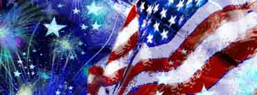 Waving Usa Flag With Fireworks Cover Photo