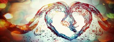 Love Heart Water Splash Cover Photo