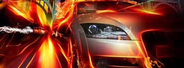 Racing Car Speed Flames Cover Photo