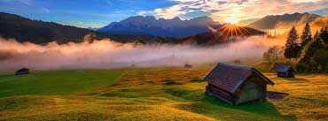 Forest House Rays Mountains Cover Photo
