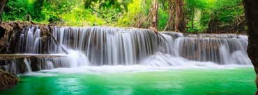 Green Tropical Waterfall Cover Photo