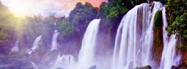 Tropical Waterfall Sun Rays Cover Photo