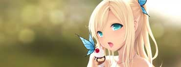 Anime Girl With Blue Butterfly Cover Photo