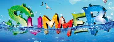 Colorful Summer 3d Text Ocean Cover Photo