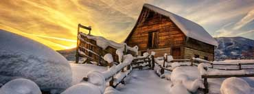 Wooden House Under Snow Cover Photo