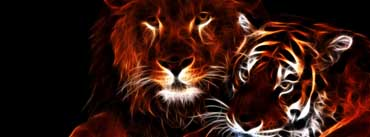 Glowing Lion And Tiger Cover Photo