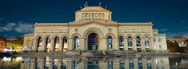Armenia Yerevan Building Reflection In Water Cover Photo
