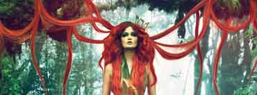 Super Long Red Hair Girl In Forest Cover Photo