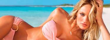 Candice Swanepoel Pink Bikini Cover Photo