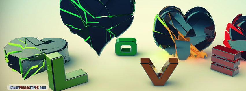 3d Love And Heart Cover Photo