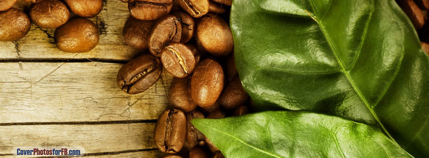 Coffee Beans And Leaves Cover Photo